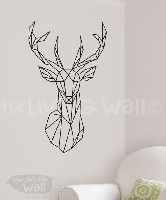 Geometric Deer Decal, Geometric Deer Wall Art Home Decor, Geometric Decor…