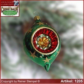 Christbaumschmuck aus Glas Oliven mit Reflex Set 12-tlg. Bergweihnacht Grün Lauschaer Glaskunst ®.