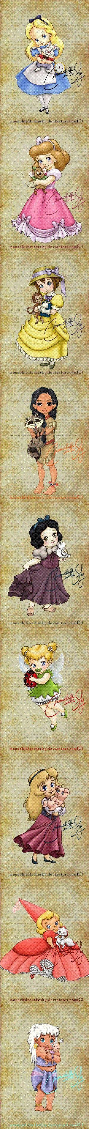 Disney Prinzessinnen 2 - von DeviantArt. In Zeile: Alice, Cinderella, Jane, Pocahontas, Snow White, Tinkerbell, Eilonwy, Lottie und Kida. Viel mehr schöne Dinge zu sehen - 2486