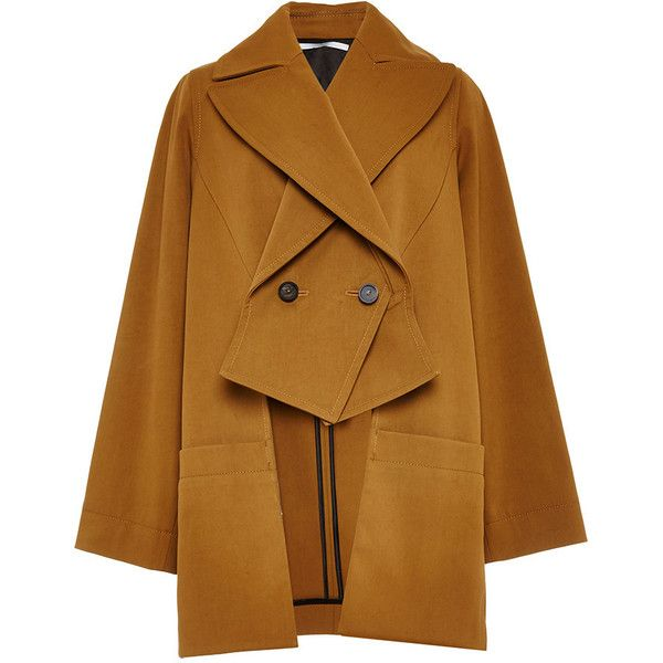 Rosetta Getty Compact Cotton Cady Slashed Trench (1.314.790 CLP) ❤ liked on Polyvore featuring outerwear, coats, coats & jackets, cotton trench coat, brown coat, double breasted trench coat, trench coat and double breasted coat