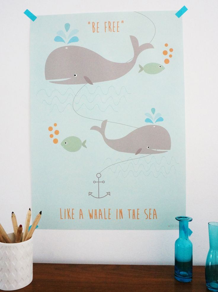 poster kinderzimmer wal be free as a whale bild. Black Bedroom Furniture Sets. Home Design Ideas