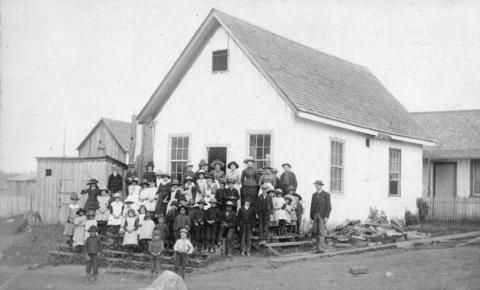 [The students and teacher in front of Hastings Sawmill School] - City of Vancouver Archives