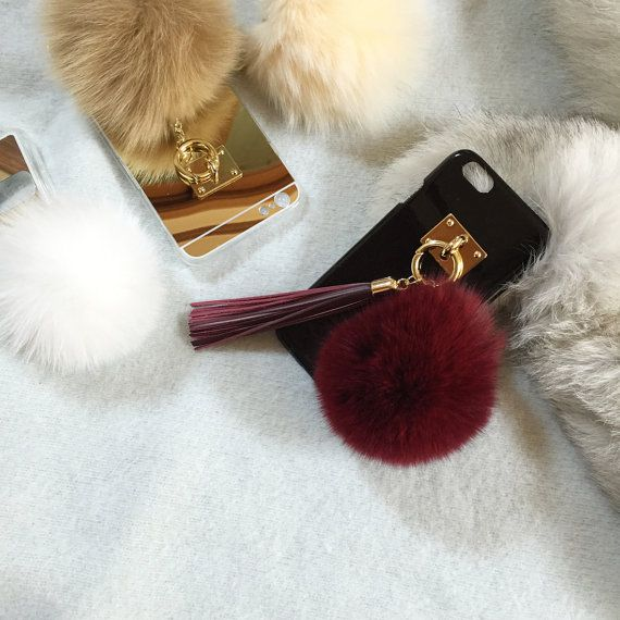 pompom fox fur case phone case iPhone5 iPhone6 by sinaestory