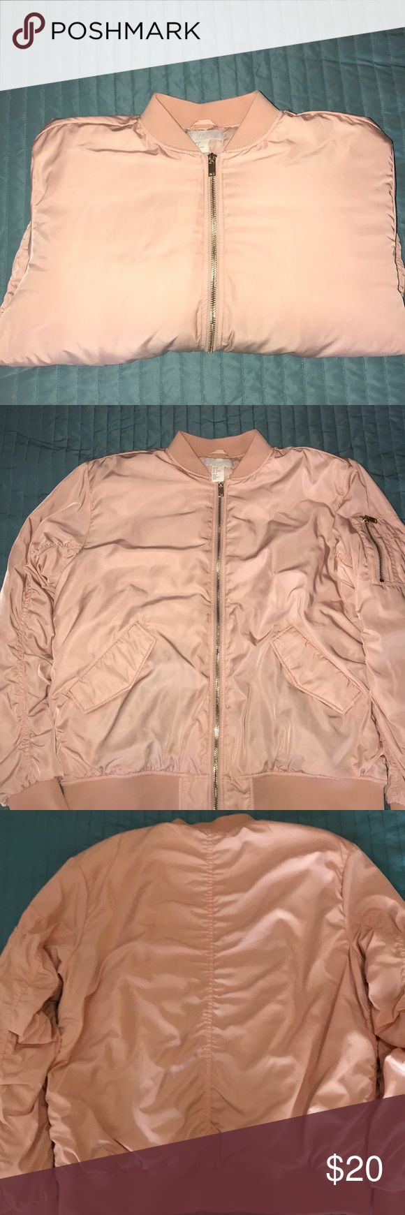 Pink Bomber Jacket Brand new, never worn, and in perfect condition bomber jacket  Light pink with gold detail. Size 8 (Fits like a medium) From H&M H&M Jackets & Coats
