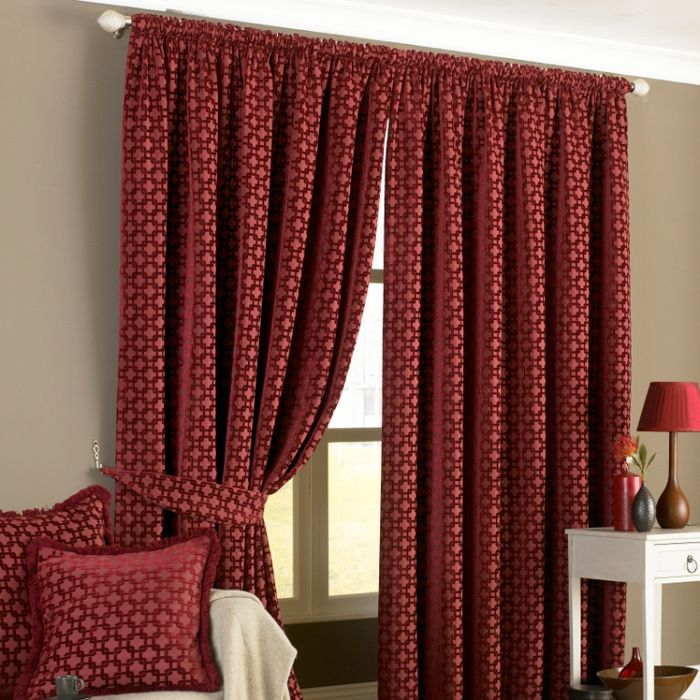 Belmont Pencil Pleat Curtains in Claret