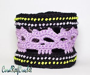 Crochet beaded bracelet cuff. Purple skulls Handmade in Australia.