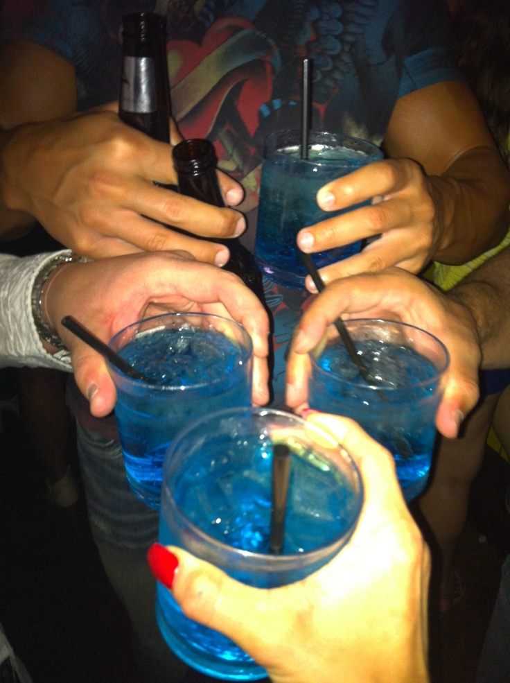 Sharing the blue cocktail with others.  They dont have cherries.  it's essentially to add the 50 cherries