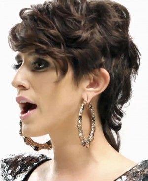 fashion mullet, wavy, brown hair
