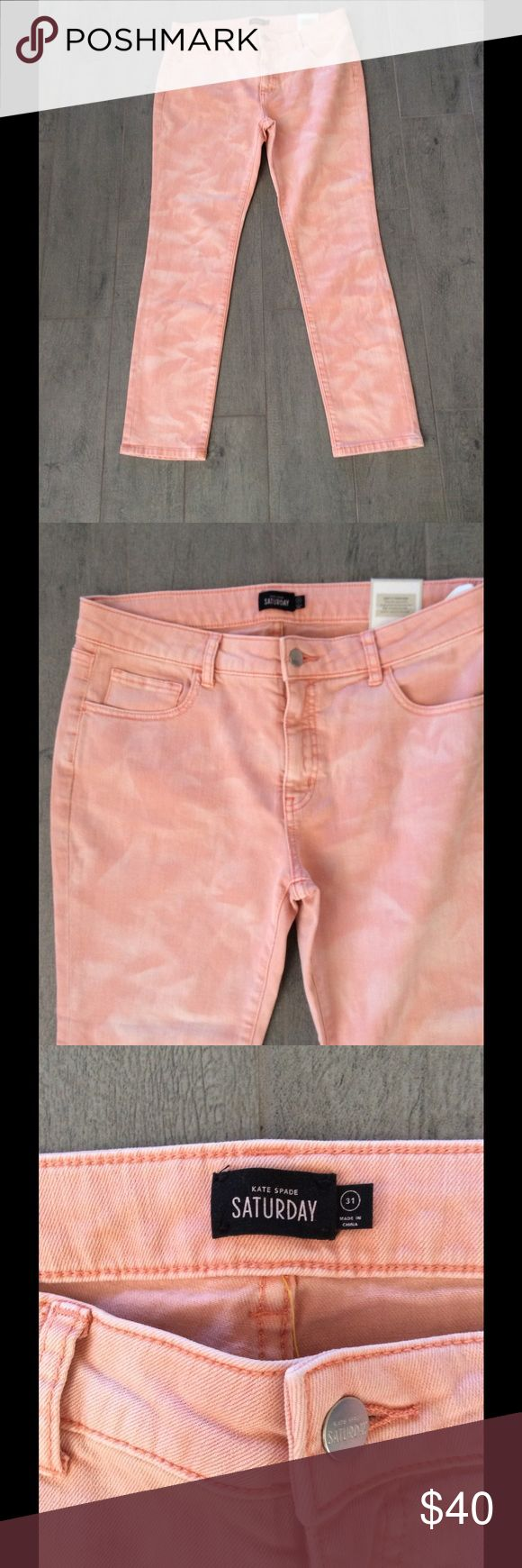 Kate Spade Saturday NWT Skinny Jeans, SZ 31 Kate spade Saturday new with tags peach printed skinny jeans with traditional five pocket design button at the waist and zipper a great Pair of Jeans headed into spring and summer kate spade Jeans Straight Leg