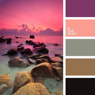 color lila, color negro, color puesta del sol, color vivo y fuerte, colores contrastantes, combinación rosado-violeta, contraste, de color malva, esquema de colores cálidos, gris y rosado, selección de colores, tonos pastel, violeta y marrón.