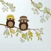 24505920-Hiboux-mignons-sur-la-branche-avec-des-fleurs-et-des-feuilles-Banque-d'images.jpg