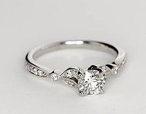 Petite Vintage Pavé Leaf Diamond Engagement Ring in 14k White Gold (1/4 ct. tw.) -no jewels around band