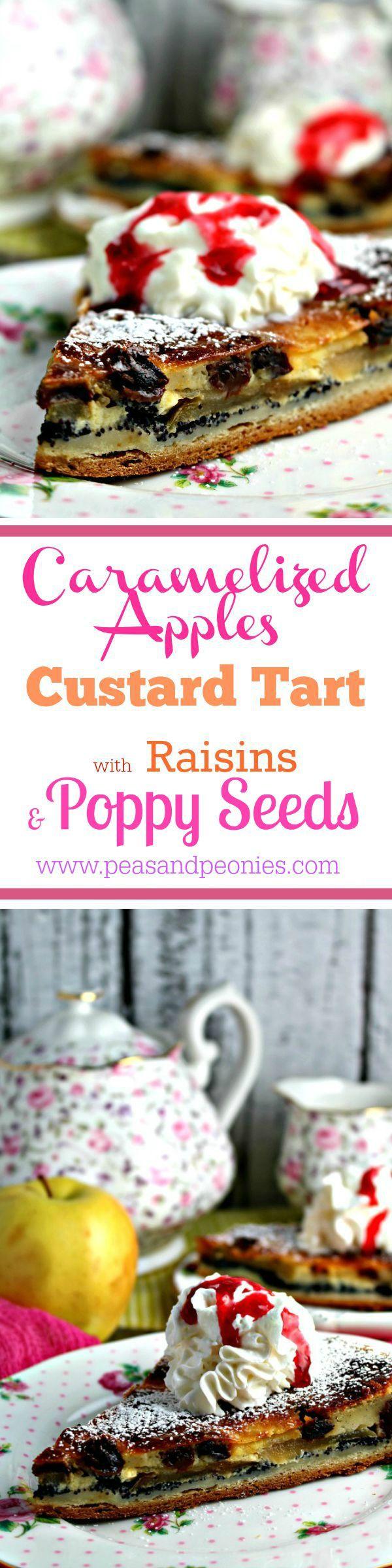 Caramelized Apple Custard Tart - Peas and Peonies