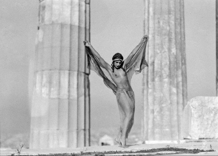 The Hungarian dancer Nikolska at the Parthenon, Athens, 1929 (b/w photo) by Greek Photographer (20th Century) Benaki Museum, Athens, Greece/ The Bridgeman Art Library