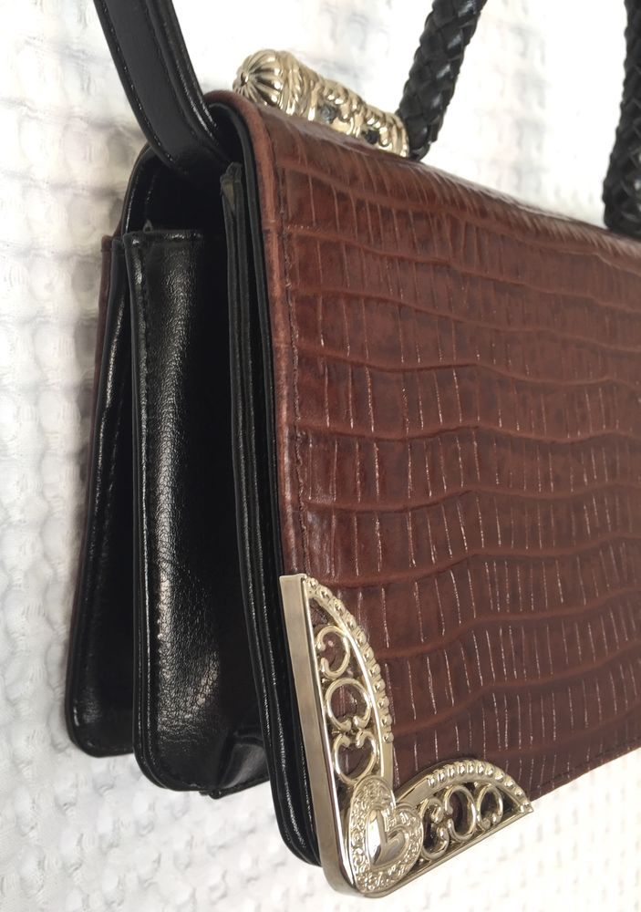 66375568e1 Designer Style Croco Embossed Purse Brown Crossbody Multi Compartment  Handbag  Unbranded  Crossbody