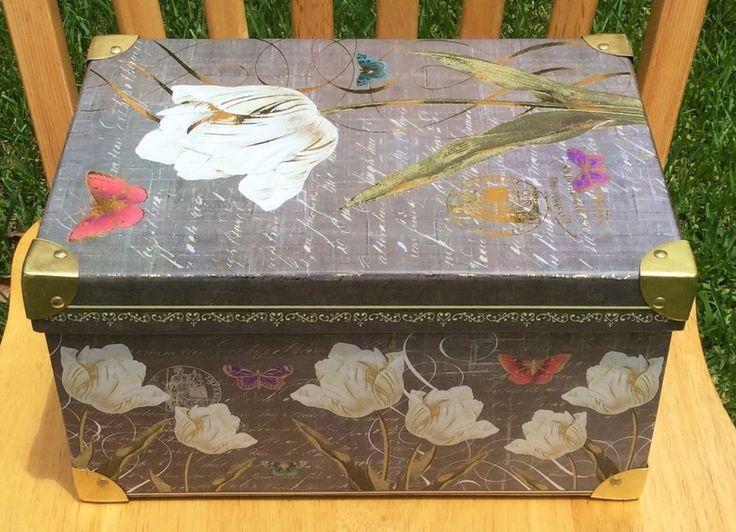 New Tri Coastal Fl Keepsake Decorative Storage Trunk Box Kathryn White Rare And Keepsakes