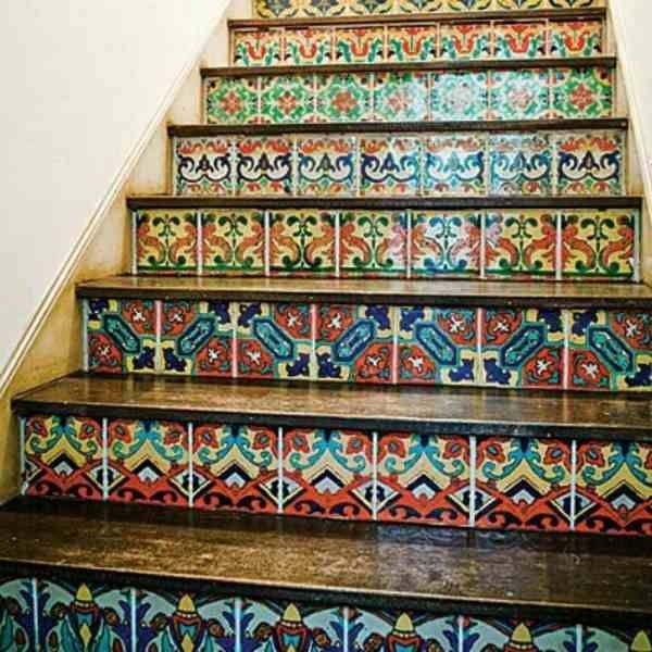 So beautiful! Tile stair risers.