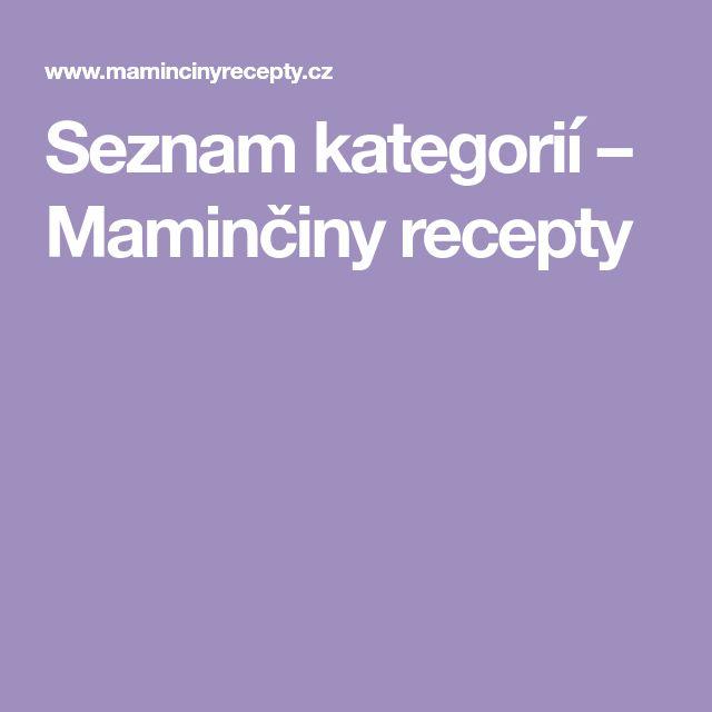 Seznam kategorií – Maminčiny recepty