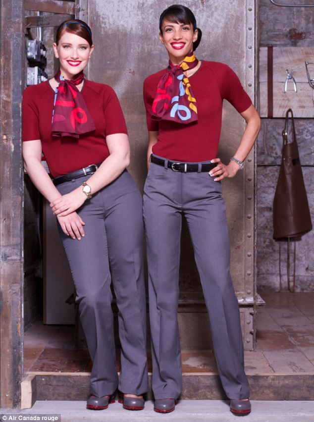 air canada flight crew uniforms   Air Canada Rouge Launches New Hipster Cabin Crew Uniforms