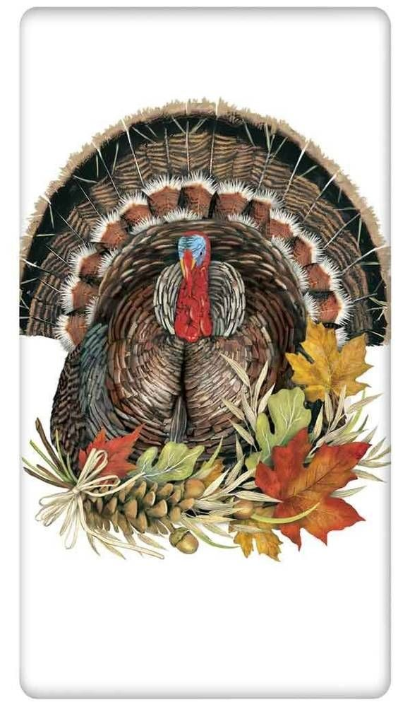 FLOUR SACK KITCHEN DISH TOWEL THANKSGIVING TURKEY AUTUMN MARY LAKE THOMPSON #MaryLakeThompson