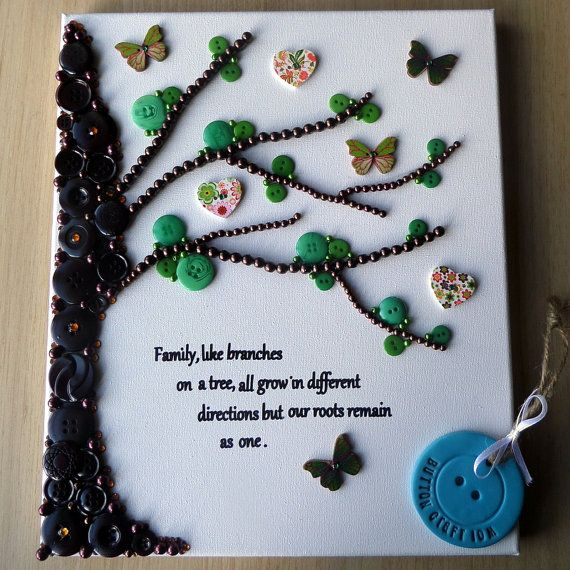 Family Tree Button Art Canvas by ButtonCraftIOM on Etsy More