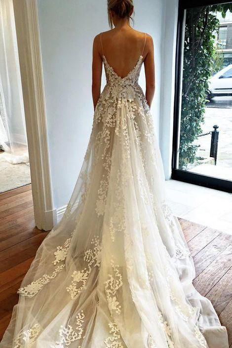 Spaghetti Strap Tulle Wedding Dress with Pockets