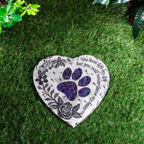 PAWPRINT DOG MEMORIAL GARDEN STONE STATUE plaque grave marker dog headstone - http://pets.goshoppins.com/pet-memorials-urns/pawprint-dog-memorial-garden-stone-statue-plaque-grave-marker-dog-headstone/