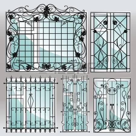 Conjunto de grades de janelas de ferro. photo