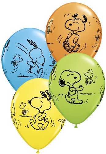 "Peanuts SNOOPY & Woodstock Charlie Brown (6) 12"" LATEX Party BALLOONS Package"