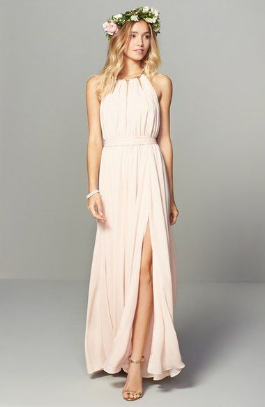 Lulus Gold Metallic Halter Neck Chiffon Gown | Lucy's Bridesmaids ...