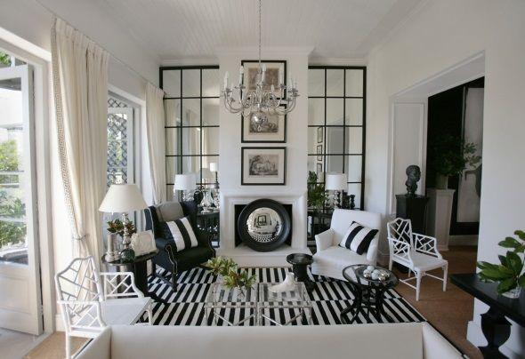 Сбалансированный дизайн гостиной в черно-белом цвете