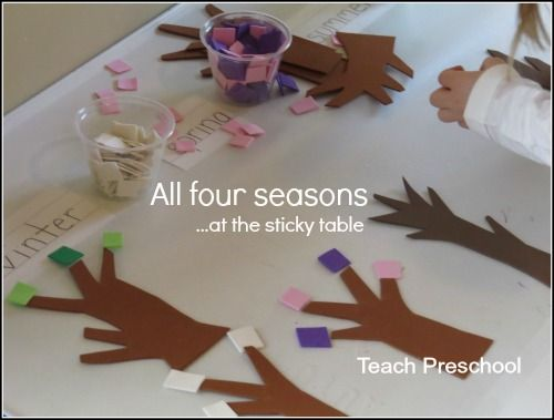 A terrific hands on way to teach children the passage of time: All four seasons at the sticky table from Teach Preschool!