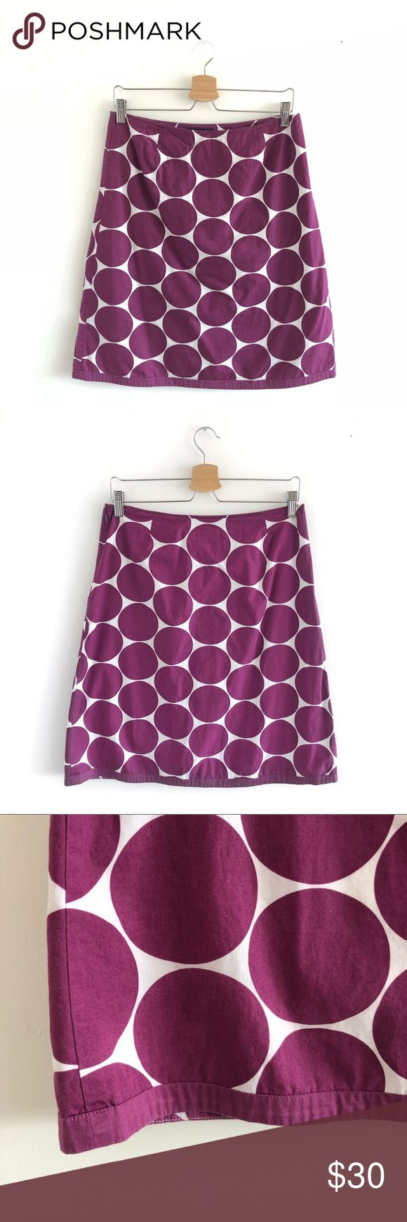 "Boden Purple Polka Dot Cotton A Line Skirt Size 12 ADORABLE Boden Purple Polka Dot Cotton A Line Skirt. Size 12. Excellent Used Condition. No visible flaws. SO CUTE! Fully lined. Side zipper and hook eye closure. Shell: 100% Cotton. Lining: 100% Cotton. Machine wash. Tumble dry low. Waist: 15"". Length: 22"". Boden Skirts Midi"