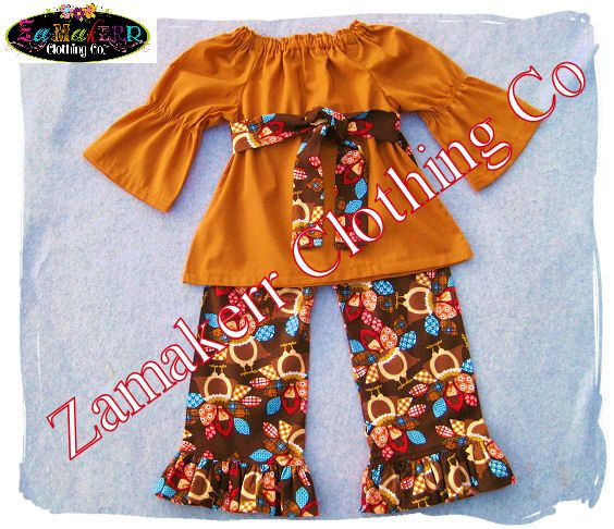 Thanksgving Turkey Girl Outfit - Fall Toddler Baby Girl Clothes Turkey Fall Pant Set 3 6 9 12 18 24 month size 2T 2 3T 3 4T 4 5T 5 6 7 8 on Etsy, $46.99