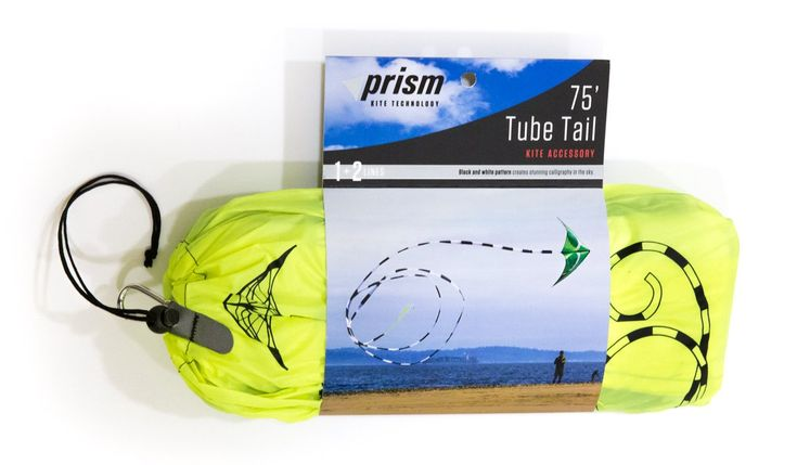 Prism 75-foot Kite Tube Tail. 75 foot long tube tail adds dramatic effect to most 1 and 2 line kites. Black and white with neon yellow tip. Swivel clip attaches to virtually any kite. Comes in stuff sack complete with carabeener.