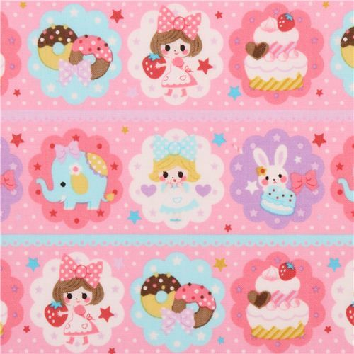pink donut sweets girl fabric by Kokka