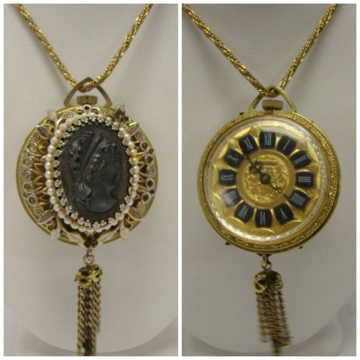 Vintage Heritage Black Hematite Cameo Watch Necklace