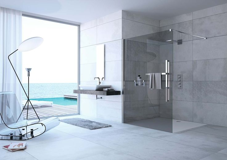 Schönes, modernes Badezimmer! Tolle Fliesen und große Walk-In-Dusche. Wie stellst du dir dein Traumbad vor?  Bildmaterial (c) HÜPPE