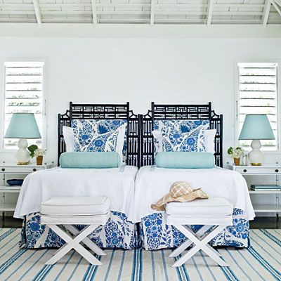 Coastal Living <3 Decorating with Headboards <3 Use What You Have: A pair of twin headboards can stand in for a larger one. This is especially useful in a guest room, where a variety of options might be needed. Simply pull the beds apart when two twin-sized beds better fit your guests' needs.