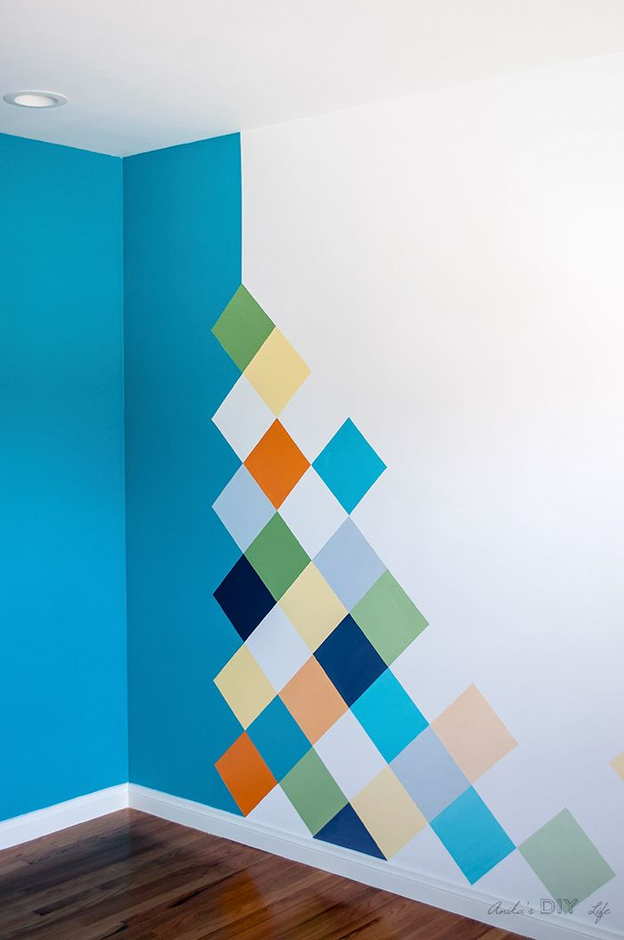 How To Colorful Accent Wall For Kids Room Diy Wall Painting Room Wall Painting Wall Paint Designs