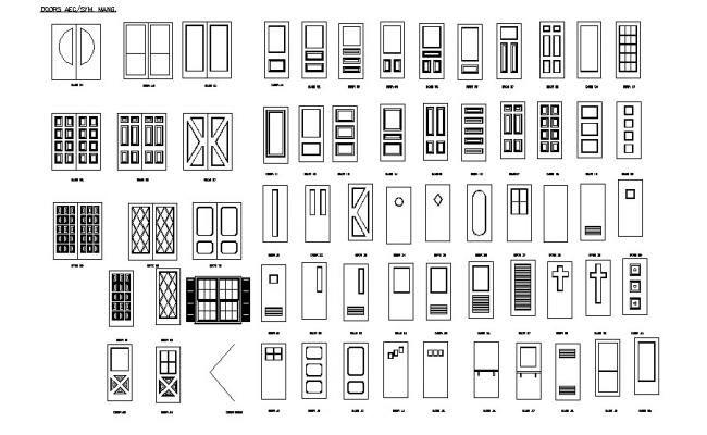 Multiple single and double door elevation blocks dwg file