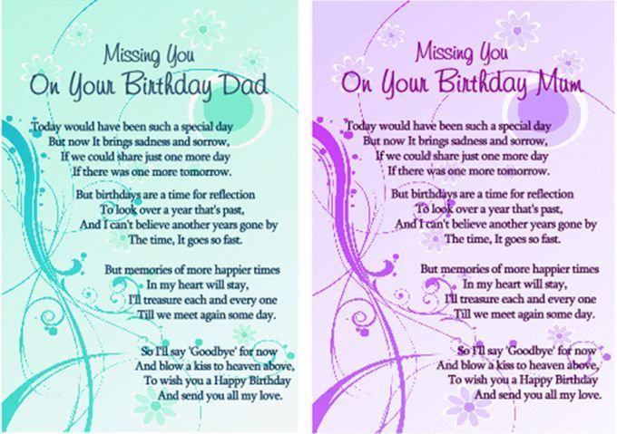 "LAMINATED MEMORIAL VERSE. ""BIRTHDAY REMEMBRANCE MUM/DAD"" GRAVESIDE MEMORIAL CARD | eBay"