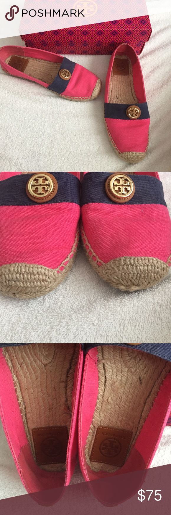 Tory Burch navy and pink espadrilles size 8.5 They show some minor wear from wearing them a few times, but overall are in great condition! Tory Burch Shoes Espadrilles