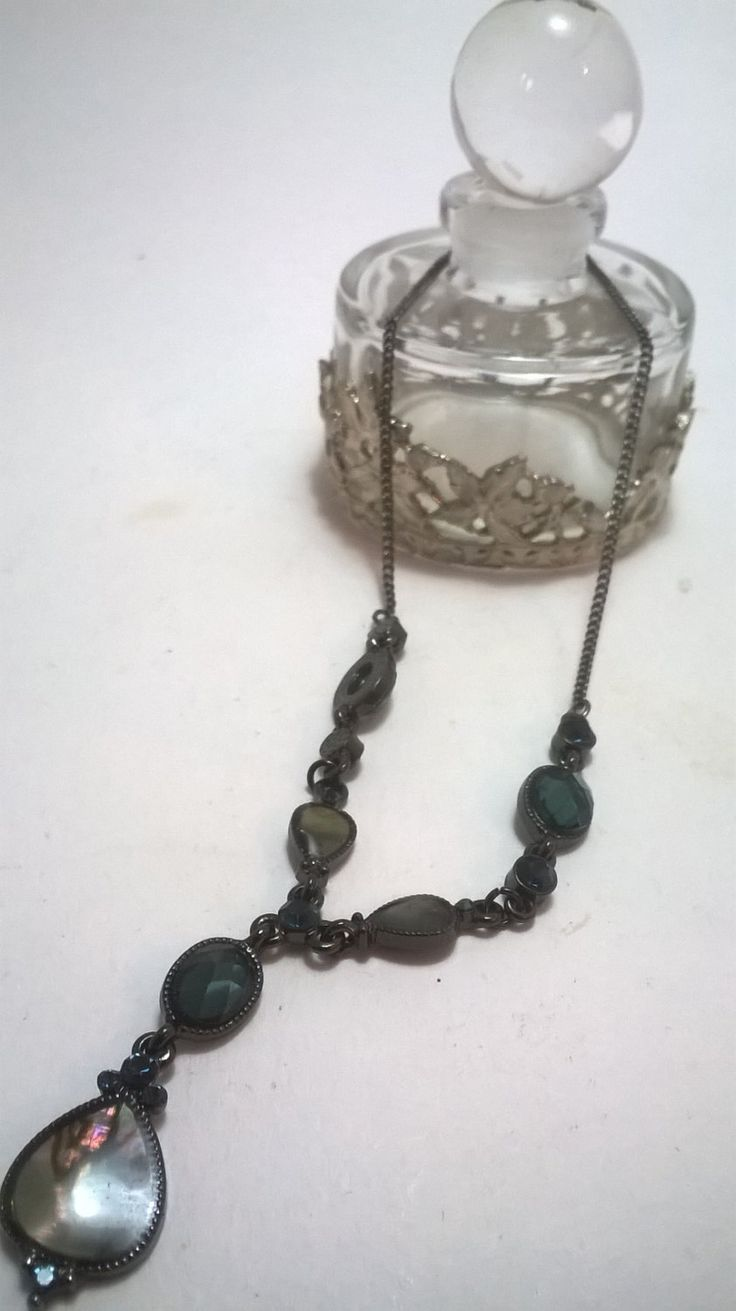 Victorian Drop Necklace with blue and pearl accents by NJscollection on Etsy