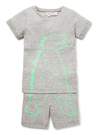 100% Cotton 1x1 Rib short sleeve pyjamas featuring dinosaur outline print in contrast colour.