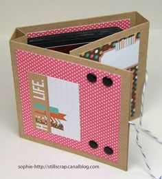 Scrapbook Mini Album - Coil binding is hidden by the double layers for the cover; baker's twine used for fastener.