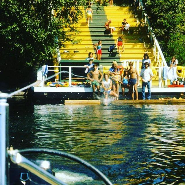 #tbt to the days when the slope was yellow and we still had water skiing!! While some miss the days of ski; we are happy to keep our lakes clean and offer only wind/ paddle powered water sports at #Tamakwa 💛💚💛💚💛💚💛💚💛💚💛💚 #TamakwaSpirit #AlgonquinPark #ilovelakes #SummerCamp #viewsfromtheslope
