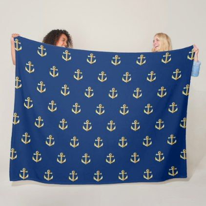#classy - #Chic Gold Yellow Colored Nautical Anchors Pattern Fleece Blanket