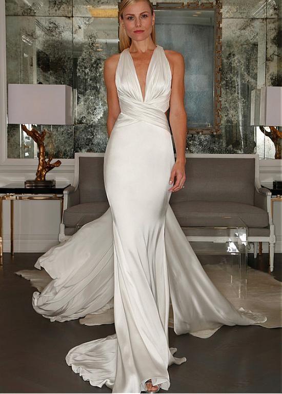 Stunning Stretch Satin Halter Neckline Sheath Wedding Dress