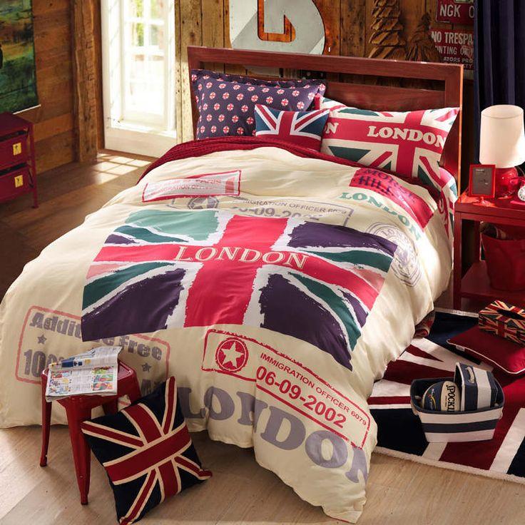 Cheap Púrpura rojo beige bandera de inglaterra londres diseño queen size camas…